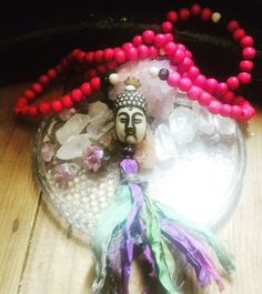 Pink Sari tassel Necklace Buddha pink by TriquetraBoutique on Etsy