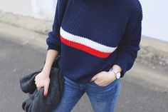 BLEU-BLANC-ROUGE, big pull, mailles, fashion look. ootd