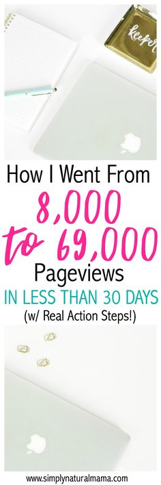 Wow!  This blogger increased her page views from 8k to 69k in less than 30 days!  That's incredible!  I need lots of help growing my blog traffic and increasing my page views, so I am so glad that I read this!  Thanks! via @simplynaturalma
