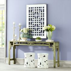 architectural mirror from Wisteria-would look amazing in front of patterned wallpaper