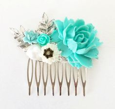 Turquoise Wedding Hair Comb Blue Mint Aqua Teal White Silver Hair Comb Floral Hair Slide Vintage Style Custom Made Flower Bridal Headpiece by Jewelsalem on Etsy https://www.etsy.com/listing/230757951/turquoise-wedding-hair-comb-blue-mint