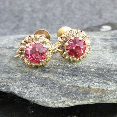 Vintage, Pink Rhinestone, Mid Century, gold tone, earrings, gold, floral, classic, screw back, 50's by BonfireStudio on Etsy