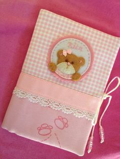 Handmade with love Hobbies And Crafts, Diy And Crafts, Baby Girl Scrapbook, Fabric Book Covers, Bebe Baby, Cardmaking And Papercraft, Notebook Covers, Baby Pillows, Homemade Baby