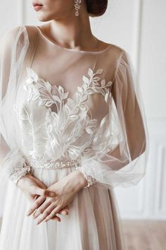 with custom lace and long sleeve with shimmery and pearl details dresses 2020 indian Tender laced long sleeve wedding dress Long Wedding Dresses, Bridal Dresses, Wedding Gowns, Prom Dresses, Modest Wedding, Wedding Dress With Pearls, Long Sleeve Wedding Dress Boho, Bouquet Wedding, Blue Dresses
