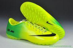 Green/Black TF Nike Mercurial Vapor IX Soccer Cleats