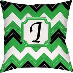 Thumbprintz Chevron Monogram Decorative Pillow, Black