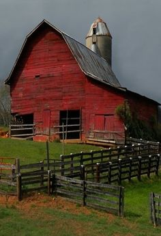 Old Red Barn & Silo - Country Woman At Heart - I Bought My Oregon Farm Because Of The Big Red Barn With A Kitchen Inside That I Use As My Artisan Syrup Factory. . .True Story!