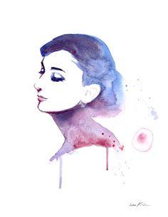 Audrey Hepburn elegante profiel Aquarel Portret schilderij