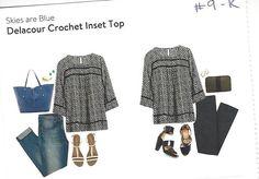 Skies are Blue - Delacour Crochet Inset Top.  #stitchfix #9 - Kept!  Great neutral piece.