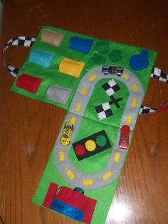 Felt travel race track.  Folds up