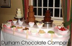 chocolate fountain display - Google Search Chocolate Fountain Bar, Chocolate Fountains, Wine And Coffee Bar, Coffee Bar Design, Chocolate Company, Bar Designs, Kitchen Gadgets, Tableware, Cake