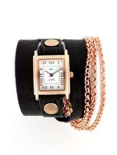 Women's Two Tone Gold & Black Multi Wrap Watch by La Mer Collections on Gilt
