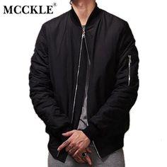 ab830e7587cd MCCKLE Hi-Street New Military Style men bomber jacket Black Mens Slim Fit  Hip Hop Varsity Baseball jacket man