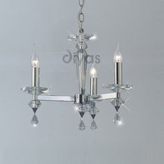 Diyas IL30593 Renzo 3 light Polished Chrome ceiling pendant with high quality crystal and adjustable height. Diameter: 47cm, Height: 44cm, 50cm - 94cm. Requires: 3x 60w SES lamps. Lamps not included. This fitting can be converted to a semi-flush ceiling fitting suitable for lower ceilings.