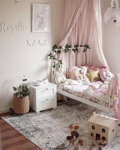 25 Cute Room Decor and Bedroom Ideas For Little Girl You Are Looking For girlsroomdecor girlbedroomideas bedroomideas bedroomdecor bedroomdesign roomdecor bedroom Girl Bedroom Designs, Bedroom Themes, Girls Bedroom, Bedroom Ideas, Bedroom Inspiration, Girl Toddler Bedroom, Ikea Minnen Bed, Toddler Rooms, Ikea Toddler Bed