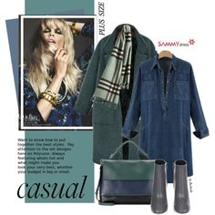Plus Size: Denim Dress by beebeely-look on Polyvore featuring polyvore, fashion, style, Balenciaga, Marni, Burberry, clothing, casual, denim and coat