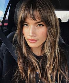 Currently Trending: The Coolest Celebrity Haircuts to Copy for Summer promi frisuren 30 Sexiest Wispy Bangs You Need to Try in 2019 Short Thin Hair, Long Hair With Bangs, Wispy Bangs, Long Hair Fringe, Cut Side Bangs, Long Dark Hair, Long Layered Hair, Short Blonde, Long Curly