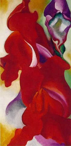 The snapdragons. Across the arc of the 20th century, Georgia O'Keeffe created an extraordinary body of work that enlived and enriched the texture of American Art. Her well-known marriage to Alfred Stieglitz (see Photography section of the Review) brought together two of the finest American artists in history. O'Keefe's paintings are characterized by a bold and startling use of color and a selection of images which animated everything from New York skyscrapers to desert flowers, to cattle…