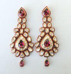 Vintage Antique 20K Gold Diamond Polki Kundan Enamel MEENAKARI Work Earring Pair | eBay