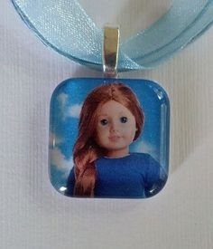AMERICAN GIRL DOLL SAIGE  1 inch glass tile, silver plated,Pendant Necklace.
