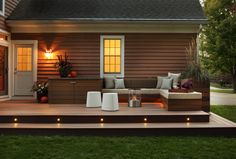 Backyard Deck and Patio Ideas . Backyard Deck and Patio Ideas . Timbertech Deck Design with Patio Outdoor Kitchen by Long Outdoor Deck Lighting, Outdoor Seating, Outdoor Decor, Deck Seating, Stair Lighting, Landscape Lighting, Seating Areas, Pergola Lighting, Backyard Patio Designs
