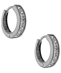 Crislu Sterling Platinum Huggie Hoop Earrings. Available at Carats in Stockton, CA!