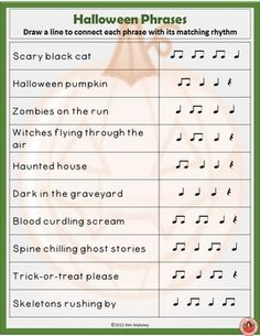 Halloween Rhythm Activities This is a 15 page PDF file of rhythm activities based on the Halloween theme. The focus rhythms are: ta, ti-ti and the quarter rest. Piano Lessons, Music Lessons, Halloween Songs, Halloween Activities, Music Worksheets, Music Flashcards, Music Lesson Plans, Piano Teaching, Learning Piano