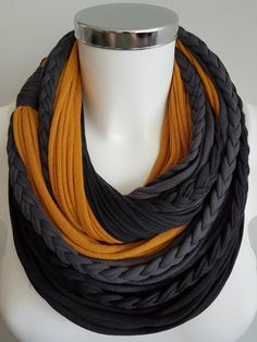 Infinity scarf black scarf circle scarf fabric scarf by Lulaor Yarn Necklace, Fabric Necklace, Scarf Jewelry, Fabric Jewelry, Chunky Scarves, White Scarves, Diy Scarf, Scarf Shirt, Bohemian Accessories