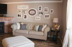 Living room walls are meant to be filled with photos! We love this space! Beautiful Family, Photo Displays, Display Ideas, Neutral Colors, Living Rooms, Family Room, Frames, Gallery Wall, Bloom