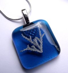 medium Blue Fused Glass Fossil Glass Pendant with 18 inch Snake Style Silver Chain, Eco friendly necklace, Eco Gifts, vegan necklace by thejeremiahtreeglass. Explore more products on http://thejeremiahtreeglass.etsy.com