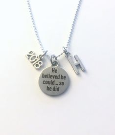 Graduation Necklace for Men, Teenage Boy, He believed he could so he did Jewelry, Teen Son Boyfriend Gift retirement, bead ball stainless by aJoyfulSurprise on Etsy Boyfriend Anniversary Gifts, Birthday Gifts For Boyfriend, Boyfriend Gifts, Teen Diy, Rear View Mirror Accessories, Car Accessories, Graduation Gifts For Him, Graduation Necklace, Personalized Charms