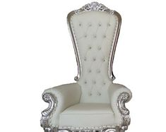 READY TO SHIP! Throne Chair White with Silver Trim