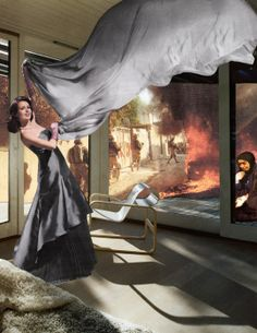 Martha Rosler, The Gray Drape, photomontage, 2008