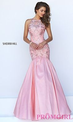 Beaded Illusion Open Back Mermaid Sherri Hill Gown at PromGirl.com
