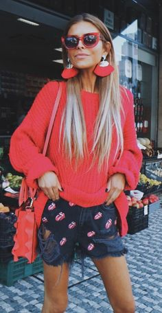 #summer #outfits Red Knit + Black Printed Denim Short
