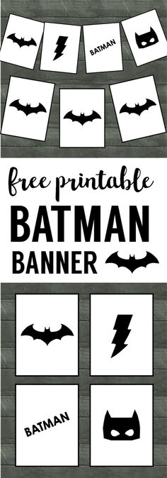 Batman Party Banner Free Printable. Easy decor for a Batman birthday party. Cheap DIY Batman party supplies. Batman party accessories.