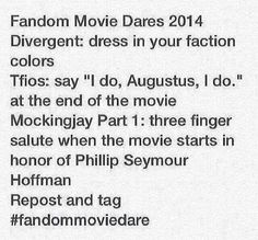 Divergent, the Fault in Our Stars, Mockingjay dares - Everbody has to do this!!!!