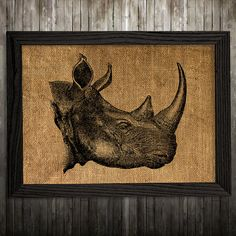 Rhino print. Burlap poster. Wildlife decor. Animal print. PLEASE NOTE: this is not actual burlap, this is an art print, the image is printed on art