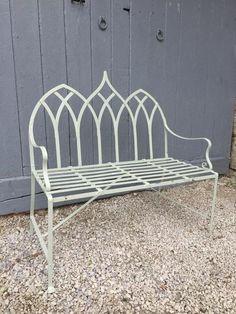 strap work gothic style garden bench