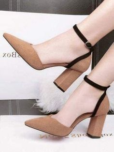 Color Block Sandals Chunky Heel Pointed Toe Line-Style Buckle Heels Lace Up Heels, Pumps Heels, Stiletto Heels, High Heels, Heeled Sandals, Heels Outfits, Sandals Outfit, Studded Heels, Beautiful Shoes