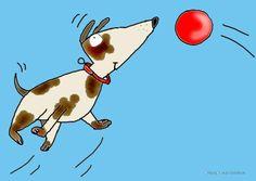 dierenkaart hond met bal 1
