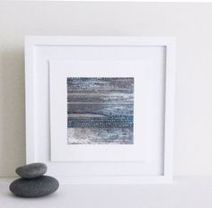"Abstract etching. Contemporary Etching Print. Modern Original Intaglio. Blue + Copper colors. Beach Art: "" Current 1"" 10"" x10"" . unframed by ElviaPerrin on Etsy"