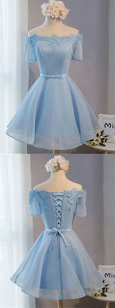 Elegant A-line Off-the-shoulder Above-knee Blue Tulle Homecoming Dress with Appliques,9021