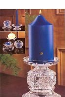 """PartyLite Salzburg Crystal Candle Holder.  Stunning 24% lead Crystal Holder ~ PartyLite #P7405 Designed for Maximum Versatility - Several Holders in One. This holder with hold 2"""" and 3"""" Pillars, Tapers, Ball, Votive and Tea-light Candles Stacked they Stand 6"""" High x 4.5"""" Width Make the occasion formal or casual and contemporary by arranging the three pieces differently. In New Condition in Original Box with Tags Original Cost 59.99 From a Very Clean & Smoke Free Home Please see my other ad…"""