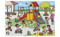 Playground scene for describing and Wh- questions Speech Therapy Activities, Speech Language Pathology, Speech And Language, Teaching English, Learn English, Drawing For Kids, Art For Kids, Picture Comprehension, Picture Composition