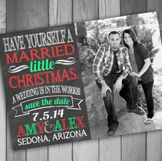 Christmas Save The Date Photo Card Engaged by CLaceyDesign on Etsy, $15.00