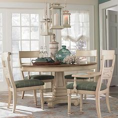 Round Dining Table Bassett furniture: Moultrie Park Round Dining Table (even has an 18 inch leaf, so you can seat six at the table, if needed). I like the light look of this set, so if like us, you have one eating space in your home, I think this is ideal -- casual yet elegant -- dress it up or dress it down.
