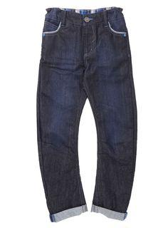 Boys Dark Blue Coated O Leg Jean - BHS