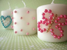 Beaded candles.... could do a monogram for a wedding favor