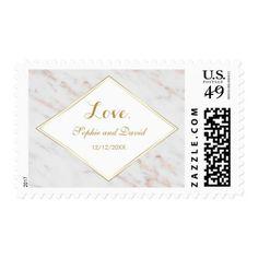 Elegant Diamond Rose Gold Marble Wedding Postage